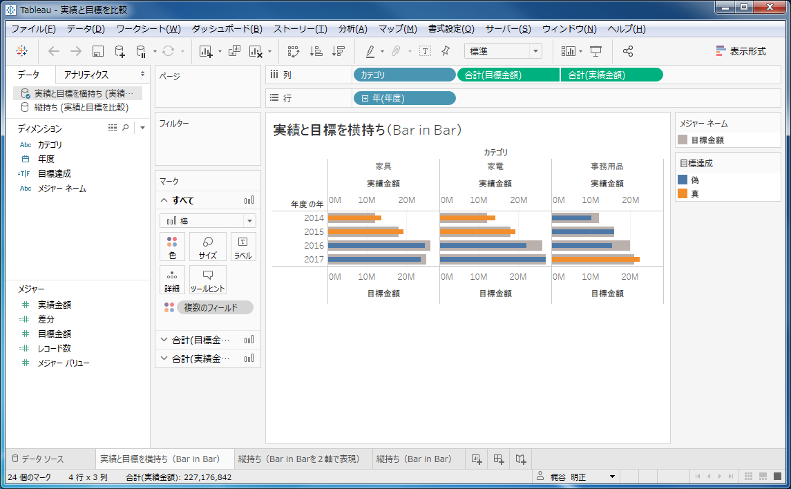 Tableauで目標と実績を管理するビューをBar in Barグラフで作成する